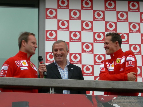 Schumacher and Barrichello with Jim Rosenthal