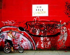 no strippers no virgins. gold on the d-block baby, gold! (wacky doodler) Tags: nyc red streetart brooklyn gold graffiti chopper swoon virgins biketour strippers oneeyedjack muralsandmosaics wackydoodler irenakittenclaw swoonbiketourbkln gapingmouth