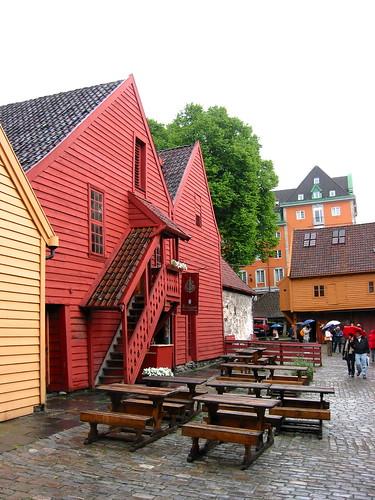 inside a typical bryggen courtyard