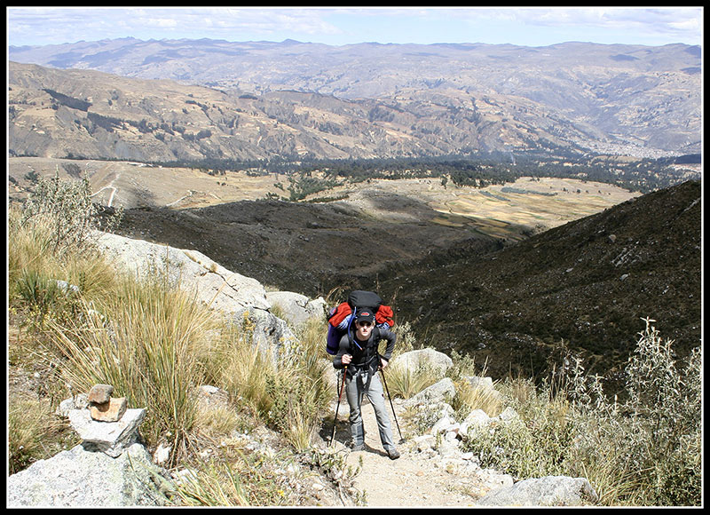 On the way to Llaca with Huaraz far below