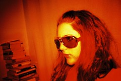 CNV00037 (emma b) Tags: 2005 june lomo lca crossprocessed xpro film e6 emma selftake orange sunglasses elvislives books leeds uk westyorkshire jessops100 coloursplash