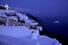 Calm Night (Walter Quirtmair) Tags: 2005 blue light sea film church water night ship tripod chapel santorini greece swq takenbywalter oia eos300