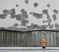 Hydrant against grey wall (Kevin Steele) Tags: orange toronto topf25 yellow wall hydrant grey firehydrant 2550fav dufferin ongrey onecolour alittlecolour