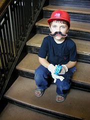 Super Mario, I mean little man (massdistraction) Tags: hammer stairs costume cosplay availablelight naturallight moustache dressingup redhat littleman cosplayer mustache afterschool supermario fakemoustache seriousbusiness seriouslooking whitegloves supermariosunshine ifihadahammer fakefacialhair