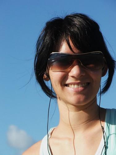 Lady jogger on Milford Beach