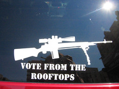 Vote From the Rooftops!! (Aoife city womanchile) Tags: carsticker bumpersticker bumperstickers revolution revolt riseup riot machinegun machineguns sticker stickers decal decals nyc newyorkcity manhattan washingtonheights