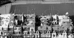 From the Eiffel Tower (L_) Tags: blackandwhite bw paris france architecture apartments eiffeltower fromabove roofs lookingdown residential courtyards apartmentbuildings utataview