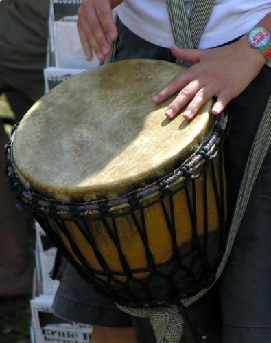 Djembe playing drumm circle