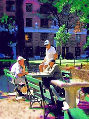 Chess Players (infinite.light) Tags: nyc people urban usa sport watercolor painting chess washingtonpark olympusc4040
