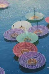 hiroshima umbrellas (manthatcooks) Tags: japan canon peace hiroshima 1995 umbrellas atomicbomb kasa canonf1 august6 fujicolourreversalfilm
