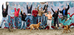 group jump! (Perfecto Insecto) Tags: groupjump jumping dogs beach funston grafitti laughing smilling people upintheair excitement joy jumpingforjoy