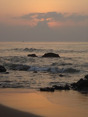 DSC00228 (Atheistbishop) Tags: beach vizag sun rise orange water shore horizon rocks