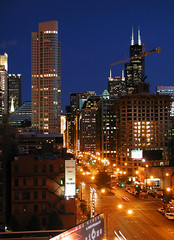 N. La Salle St., Chicago (Patrick Houlihan) Tags: chicago illinois night lasallest chicagoboardoftrade searstower skyscrapers cityscape city 15fav streetscene urban urbannightphoto topv111 110fav interestingness 1025fav longexposure roofshot downtown downtownchicago bravo topv333 topf25 topv777 secondcity windycity