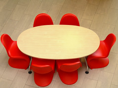 Meeting Table (mnadi) Tags: red work table office team chairs top contemporary meeting business vitra tabletop redchair vernerpanton