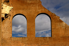 Living in Rome (Gianni Dominici) Tags: 2005 city windows sky urban italy rome roma history archaeology topf25 colors topv111 clouds interestingness ancient topv333 ruins flickr italia roman framed topv1111 topv999 topv444 topv777 topv666 fori topv888 top555 4egiannid 4earia