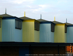 Beach Chalets in Winter (A-Wop-Bop-A-Loo-Bop!) Tags: building colour yellow turquoise seaside spike beach england uk architecture fylde cleveleys lancashire beachhuts changing chalet