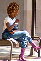 Cleopatra Jones (Shavar Ross) Tags: california people woman bus face female hair losangeles purple faces boots candid afro style streetlife busstop 300mm hollywood shavarcom stylish tinaturner shavarrosscom