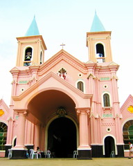 Minglanilla Church, Cebu (Farl) Tags: pink church colors stone architecture catholic exterior mary philippines religion peach cebu simbahan immaculate minglanilla cebusugbo