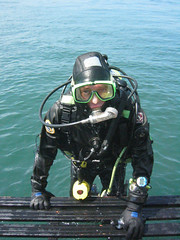 climbing on board (squeezemonkey) Tags: uk sea boat mask diving deck diver drysuit climbingaboard