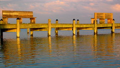 Opposites (shutterBRI) Tags: 2005 reflection water canon river bench photography virginia pier photo deleteme10 powershot a80 shimmer rappahannock shutterbri morattico brianutesch brianuteschphotography
