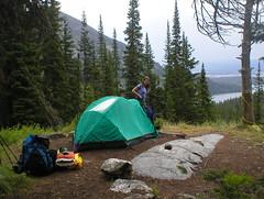 wet spot (tbone_sandwich) Tags: camping summer vacation green rainyday maggie tent canyon backpack vista backcountry grandtetons roomwithaview campsite damp grandtetonnationalpark mountainhardwear campinggear paintbrushcanyon amazingview