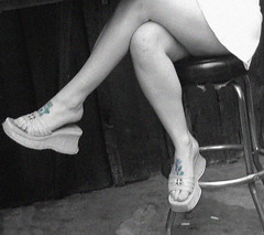 footat (djwhelan) Tags: tattoo leg skirt stool bw cutout photoshop foot sandal tccomp022 tccomp themecompetition