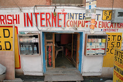 Halfpint Indian Internet Cafe (Marc Shandro) Tags: door india caf sign computer store cafe small internet tiny signage internetcafe cybercafe cyber