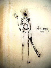 . (colerise) Tags: sketch ink drawing paper blood shadow smear characters art body black message standing thinking surface brown