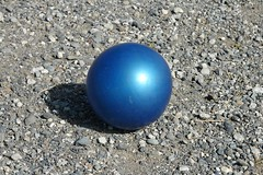 Blue ball in summer sunshine
