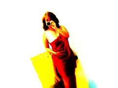 On Gilda's way (Lou Rouge) Tags: camera red selfportrait me rouge rojo searchthebest song rosso reddress gilda lourouge mc05negativespace