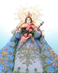 Flores (Farl) Tags: pink flowers blue flores beautiful statue religious reina catholic faith mary religion icon virgin virginmary virgen sanctuary birhen motherlady cebusugbo