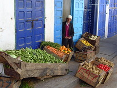 Man in Rabat (Puddleglum-) Tags: morocco rabat blue man street produce colors