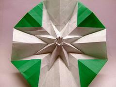 Octagonal star shape, reverse (EricGjerde) Tags: art geometric star origami sink geometry workinprogress wip shape origomi gjerde octagon thingie origamitessellation octagonal origamitessellations 折り紙 tassellazione