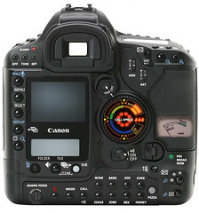 A modified image of a Canon 1D series camera with extra buttons and sci-fi looking instruments.