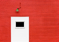 Red, Red Brick Wall (Todd Klassy) Tags: light red white abstract color colour love industry window lamp crimson lines horizontal wall wisconsin composition contrast dark geotagged outdoors paint industrial ipod bright belleville bricks rustic masonry entrance nobody warehouse doorway mortar brickwall saturation passion backgrounds backdrop romantic portal strength minimalism simple redwall electrical catchycolor wi oldbuilding valentinesday brickwork uniformity urbanlandscape paintedwall workmanship stockphotography vibrantcolor urbanabstract brightlycolored urbanscene designelement transverse colorimage commercialbuilding february14th freshlypainted ruralwisconsin wisconsinphotographer geo:lat=4286164 geo:long=8953028 masonryconstruction toddklassy brightredwall lightoverdoor descriptivecolored wisconsintravelphotographer