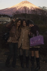 Girls in front of Pink Fuji