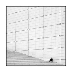 lost in paris (elfis gallery) Tags: street people urban blackandwhite bw white man black paris france monochrome architecture publicspace wow square top20favorites french lost grey