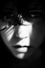 . (seventytw0dpi) Tags: light bw woman me face contrast kara self hair soft shadows curl yinyang harsh