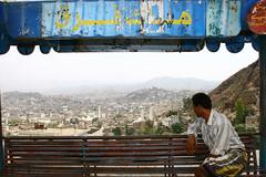 Man on a bench enjoying the view in Taez - Yemen (Eric Lafforgue) Tags: voyage travel republic felix middleeast arabic arab arabia yemen arabian sanaa ramadan yemeni yaman middleast arabie moyenorient jemen lafforgue arabiafelix taez  arabieheureuse  arabianpeninsula    ericlafforgue iemen lafforguemaccom mytripsmypics imen imen yemni    jemenas    wwwericlafforguecom  alyaman ericlafforguecomericlafforgue contactlafforguemaccom yemenpicture yemenpictures