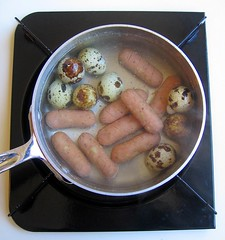 Prep for quail eggs and sausages