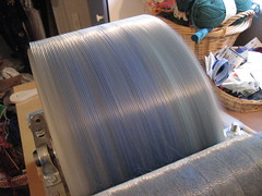 Drum in motion with a nice layer of blue silk