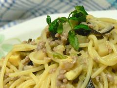 タケノコ入り肉味噌スパゲティ