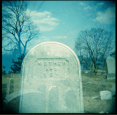 Mother and Son (Squid Ink) Tags: newyorkcity cemetery brooklyn holga greenwoodcemetery graves gothamist