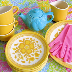 Vintage Yellow Dishware Set (Picnic by Ellie) Tags: pink blue yellow set vintage cups teapot mustard plates dishware