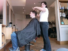 Paul's Haircut (bluebus) Tags: haircut mobile samsung slide harpenden barbersshop u600