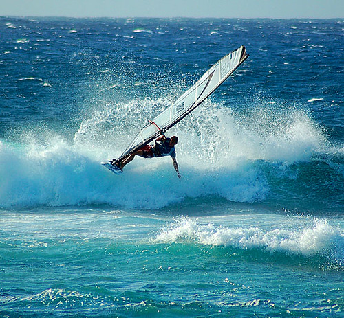 Windsurfer Riding the Waves