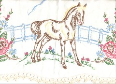 Embroidered horse and flowers