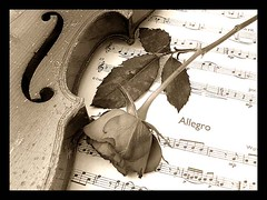 Music and Rose in sepia