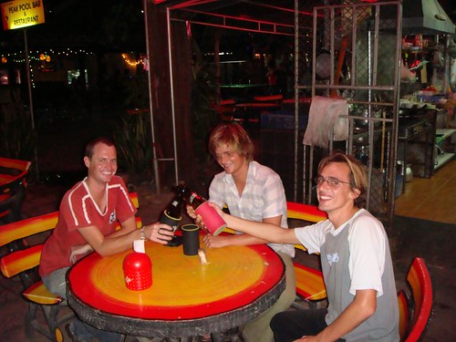Ben (OZ), me and Will (FR) in Peak Pool Bar. Preparing for a great night out. Chiang Mai.
