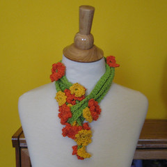 Marigold Mania Lariat Necklace (KnittingGuru) Tags: orange fashion yellow necklace belt crochet jewelry lariat lime marigold